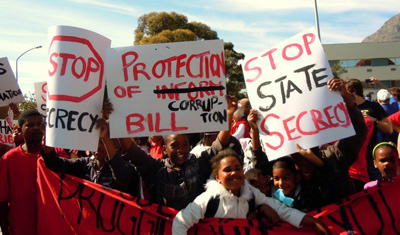 Children march with signs protesting the Protection of Information Bill. (Right2Know)