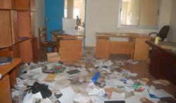 The ransacked offices of Notre Voie. (Notre Voie)