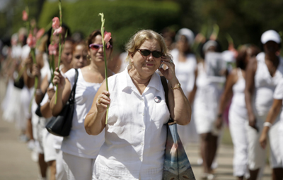 Pollán leads the Ladies in White in March 2011. (AP/Javier Galeano)
