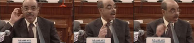Ethiopian Prime Minister Meles Zenawi speaks to Parliament Thursday. (CPJ)