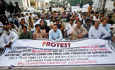 Reporters in Baluchistan have organized a string of protests over lack of safety. (ONLINE News Network)