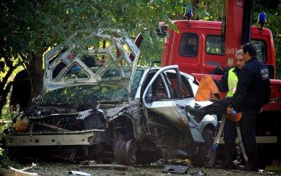 Sasho Dikov's car was destroyed in the blast. (Reuters)