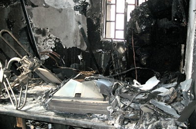 Inside Love FM, after Monday's bomb attack. (Press Union of Liberia)
