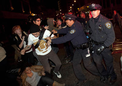 Occupy Wall Street protesters clashed with police this morning. (AP)