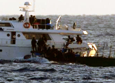 Journalist Hassan Ghani, detained since Friday, was arrested by Israeli forces on this aid ship headed to Gaza. (Reuters)