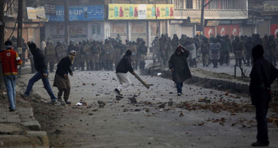 Four journalists were attacked during this protest in Indian-controlled Kashmir. (AP)