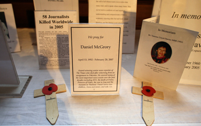 Memorials on an altar during the 2007 annual service for fallen journalists in St. Bride's Church in London. (AFP)