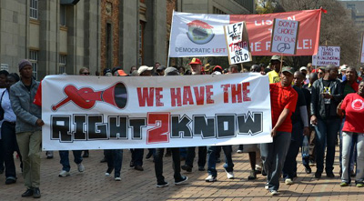 A protest against pending state secrets legislation in South Africa. (Chris Yelland)