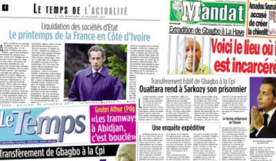 Three Ivorian newspapers were temporarily suspended for running political commentary.