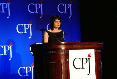 Charter 97 Editor-in-Chief Natalya Radina at CPJ's 2011 International Press Freedom Awards. (Muzaffar Suleymanov/CPJ)