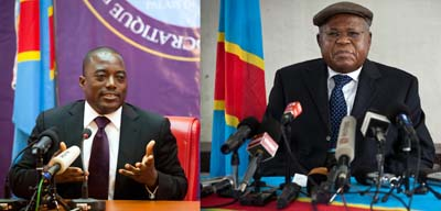 Radio France Internationale broadcasts were suspended after the station covered the aftermath of the presidential elections between incumbent Kabila (left) and opposition leader Tshisekedi. (AFP)