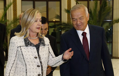 U.S. Secretary of State Hillary Clinton met with Uzbekistan President Islam Karimov in Tashkent in October 2011. (Reuters/Kevin Lamarque)