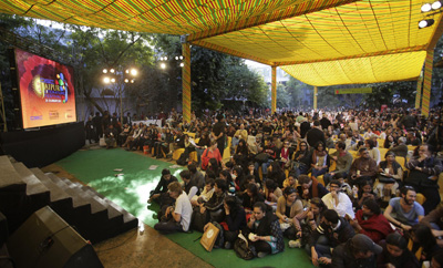 Visitors wait for Salman Rushdie's video conference at the Jaipur Literature Festival, which was called off after Muslim groups protested. (AP/Manish Swarup)