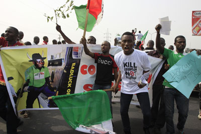 Nigerians have been protesting for five days over the removal of a fuel subsidy. (AP/Sunday Alamba)
