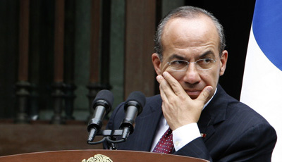 Mexican President Felipe Calderón Hinojosa pledged action to deter anti-press attacks, but his government has accomplished little. (AP/Marco Ugarte)