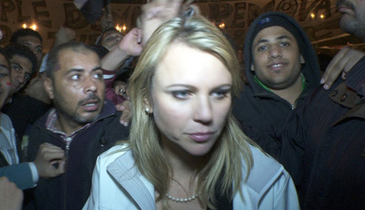 CBS correspondent Lara Logan moments before she was assaulted in Tahrir Square. (Reuters/CBS)