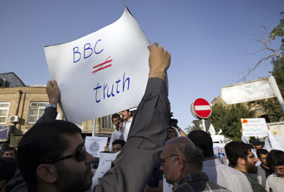 An Iranian hardline student protests against the BBC during a demonstration outside the British embassy in Tehran on August 14, 2011. (AFP/Behrouz Mehri)