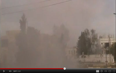 This screenshot from YouTube dated Wednesday is said to show the shelling of Homs as recorded by Rami al-Sayed before his death.