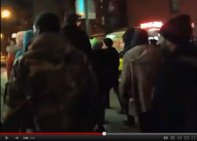 This YouTube screenshot is taken from a TimCast video of Occupy Wall Street demonstrators minutes before unidentified assailants attacked live streamer Tim Pool.