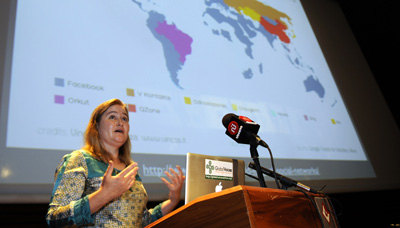 Rebecca MacKinnon, shown here in Tunisia last year, asserts in a new book that citizens and governments must decide the power of the Internet. (AFP/Fethi Belaid)