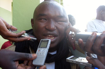 Reporter Bocar Dieng said an attack by a local leader loyal to President Wade left him with this swollen eye. (Bocar Dieng)