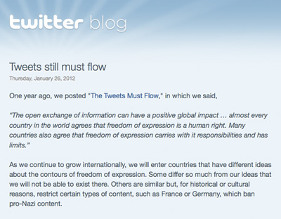 A screen shot showing part of a Twitter blog post in which the company announced it could now censor messages on a country-by-country basis. (AP/Twitter)