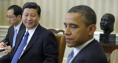 President Obama meets with Chinese Vice President Xi Jinping Tuesday at the  White House. (AP/Susan Walsh)