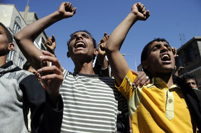 Yemeni protesters demonstrate in the capital Sana'a Thursday demanding active participation in the early presidential elections to be held this month. (AFP/Mohammed Huwais)