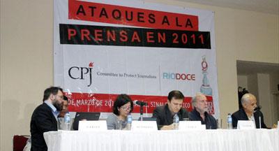 From left, CPJ Internet Advocacy Coordinator Danny O'Brien; Board member María Teresa Ronderos, Senior Americas Program Coordinator Carlos Lauría, and Ríodoce Deputy Director Alejandro Sicairos (Ron Bernal).