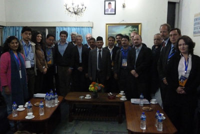 Members of the International Media Mission to Nepal with Prime Minister Baburam Bhattarai, center. (Federation of Nepalese Journalists)