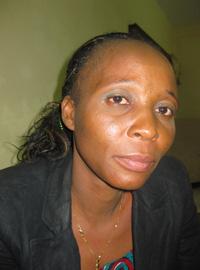 Reporter Kounkou Mara, after being assaulted by police officers. (Courtesy Kounkou Mara)