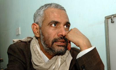 Yemeni journalist Mohammed al-Maqaleh was attacked and threatened by armed men on Saturday. (AFP/Mohamed Huwais)