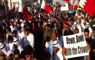 A still from one of Hassan's videos of a protest in Manama last year. Hassan was killed by an unknown assailant on Saturday. (YouTube)