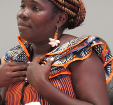 Mae Azango compared going into a hiding with hanging in a bat cave. (CPJ/Sheryl Mendez)