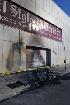 The offices of El Siglo de Torreón after the November 2011 attack. (Courtesy El Siglo de Torreón)