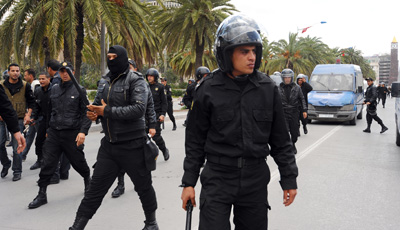Police attacked journalists and clashed with protesters in a Martyrs' Day demonstration on Monday. (AFP/Fethi Belaid)