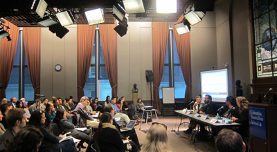 Panelists at the launch of the new CPJ Journalist Security Guide at Columbia University. (CPJ/Nicole Schilit)