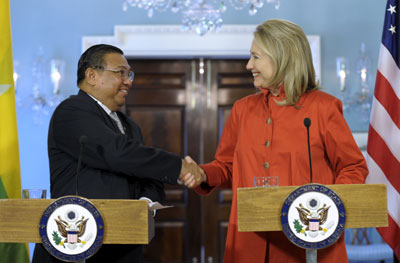U.S. Secretary of State Hillary Clinton shakes hands with Myanmar Foreign Minister Wunna Maung Lwin Thursday in Washington. (AP/Susan Walsh)