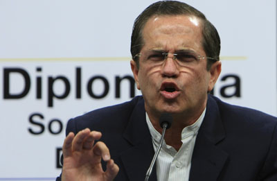 Foreign Affairs Minister Ricardo Patiño said 'ignorance' was behind international criticism of press freedom conditions in Ecuador. (AP/Dolores Ochoa)