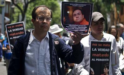 Mexican journalists protest the murders of their colleagues. (AFP/Ronaldo Schemidt)