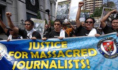Philippine journalists demand justice for the murder of their colleagues. (AFP/Noel Celis)