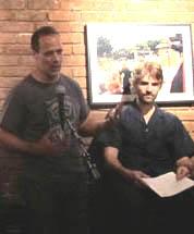 Sebastian Junger, left, introduces fellow journalist Jeffrey Gettleman at the Half King. (Nicole Schilit)