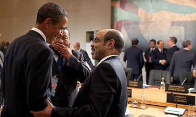 The success of a U.S. partnership with Ethiopia on food security depends in large part on a free press in the Horn of Africa nation, a senator argued yesterday. Above, Obama and Meles at the G8 summit in 2010. (White House)