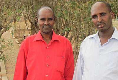 Abdiweli Farah and Mohamed Abdi Jama, chief editors of Ogaal and Waheen, respectively, say the government has not lived up to its promises. (CPJ/Tom Rhodes)