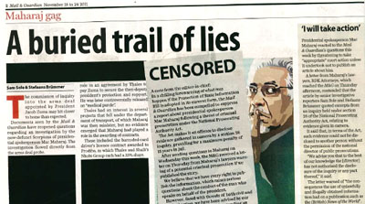 The censored November issue of Mail & Guardian. (CPJ)