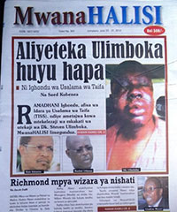 A screen shot of a July edition of MwanaHalisi.