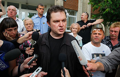 Andrzej Poczobut, a correspondent for Poland's Gazeta Wyborcza, was convicted of insulting Aleksandr Lukashenko in 2011 and given a suspended sentence. (AP/Sergei Grits)
