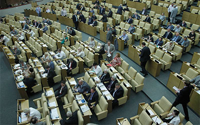 Russian lawmakers attend a session of the lower house of parliament on July 6, 2012. (AP/Misha Japaridze)