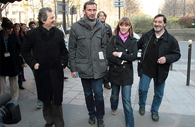 From left, Rue89's Pierre Haski, Augustin Scalbert, and two France 3 journalists were summoned in 2009 over a video of then-President Nicolas Sarkozy. (AFP/Jacques Demarthon)