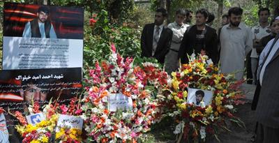 A memorial for Afghan journalist Ahmad Omaid Khpalwak in Kabul. (AFP/Shah Marai)